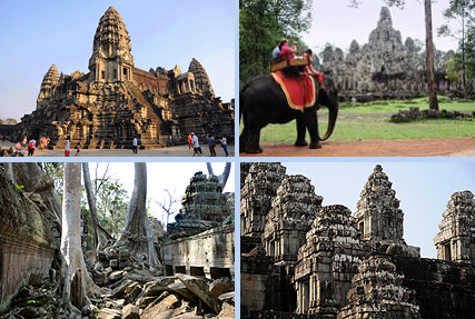Angkor Wat, Bayon in Angkor Thom, jungletemple Ta Prohm and Phnom Bakheng are the 4 highlights of a 1-day Angkor tour