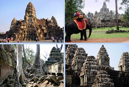 Angkor Wat, Bayon in Angkor Thom, jungletemple Ta Prohm and Phnom Bakheng are the 4 highlights of a 1-day Angkor tour
