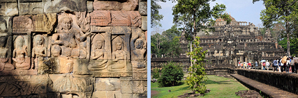 Leper King terrace carving and Baphuon temple in Angkor Thom