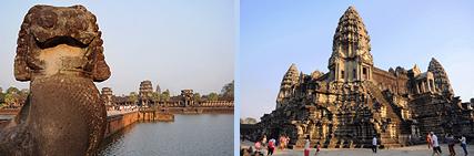 Angkor Wat Lion guardian at causeway and central Bakan