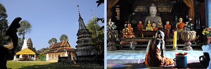 Siem Reap ancient temples in modern pagoda compounds of monasteries Wat Athvea and Wat An Kao Sai