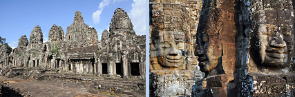 Bayon temple with Buddha face-towers in Angkor Thom
