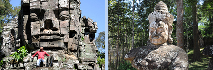 City gates of Angkor Thom with sculptures