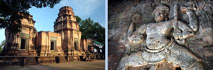 Prasat Kravan brick wall carving