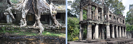 Preah Khan tree and double storey building