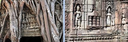 Ta Som gate tree and Devatas