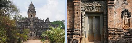 Bakong sandstone pyramid and brick tower