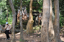 Prasat Prei Monti with 3 Khmer temple towers in Roluos near Angkor